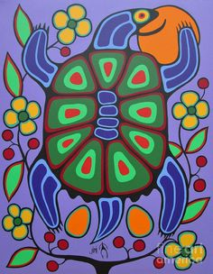 Turtle Mother Art Print by Jim Oskineegish. All prints are professionally printed, packaged, and shipped within 3 - 4 business days. Choose from multiple sizes and hundreds of frame and mat options. Native Art, Native American Art, Kunst Der Aborigines, Fine Art Amerika, Woodland Art, Mother Art, Arte Tribal, Turtle Painting, Canadian Art