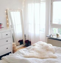 All white bedroom ❤ Creative Furniture, Girly Apartments, Room Decor, Apartment Decor, Home, Small Apartment Decorating, Simple Bedroom, Bedroom Design, Studio Apartment Decorating