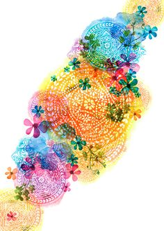 rainbow mandala cloud Art Print by Norma Lindsay | Society6