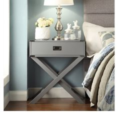 Modern Wood Accent X Base Nightstand Campaign Sofa Table Rectangle Shaped with Storage Drawer - Includes Modhaus Living Pen (Gray) $211 amazon.com