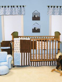 Don't like the color of the crib, but bedding and decor could be paired with other modern furniture...