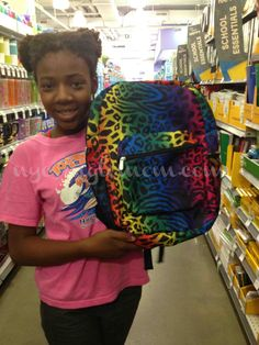 Rainbow animal print backpacks! Kid-approved back to school supplies at Mom-approved prices! #DuaneReade #cbias #shop