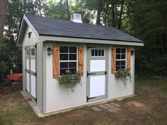 W x 12 ft. D Wood Storage Shed Love shutters and planter box. Doing this to my shed in spring. Shed House Design Ideas, Shed Design, House Ideas, Wood Storage Sheds, Storage Shed Plans, Tool Storage, Diy Storage, Outdoor Storage, Shed Makeover