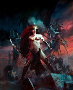 True Dark Elf witch commander rallying the others. Fantasy Heroes, Fantasy Battle, Fantasy Races, Fantasy Rpg, Medieval Fantasy, Dark Fantasy, Fantasy Characters, Warhammer Dark Elves, Warhammer Art