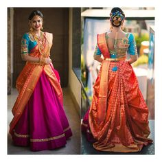 South Indian doubĺe dropping saree To make it easier for you, we have the top trending beautiful silk saree blouse designs so that you can choose the best for your saree look. Lehenga Designs, Wedding Saree Blouse Designs, Pattu Saree Blouse Designs, Half Saree Designs, Silk Saree Blouse Designs, Wedding Sarees, Reception Sarees, South Indian Blouse Designs, Wedding Lehanga
