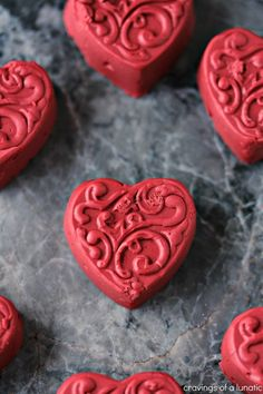Red Velvet Fudge. This heart-shaped Red Velvet Fudge is incredibly easy to make! It uses marshmallow fluff so you can have fudge without all the fuss! Get the recipe at cravingsofalunatic.com !