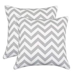 "Set of two chevron cotton pillows.   Product: Set of 2 pillowsConstruction Material: 100% Cotton cover and hypo-allergenic polyester fillColor: Ash and white Features:  Zippered closure Inserts includedMade in Council Bluffs, Iowa Dimensions: 17"" x 17"" eachCleaning and Care: Hand or spot clean"