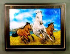 Escultura del caballo High-End en relieve en madera por DavydovArt