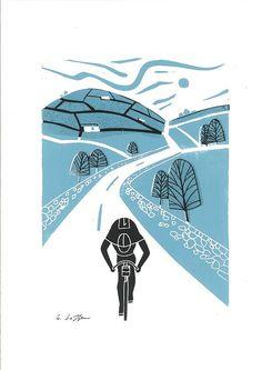 Tour de France Teal - Yorkshire - Cyclist Linocut - Cycling Art - Bike Contemporary Art - Bicycle Art