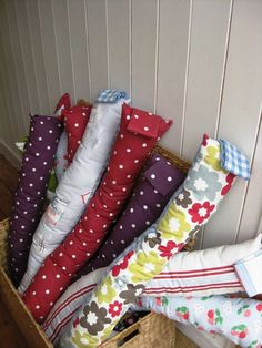 Red Dotty fabric Draught Excluder draft door by CrabtreeLaneShop, $22.00