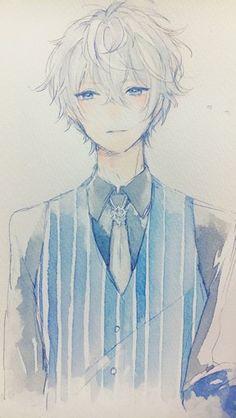 Watercolor anime boy