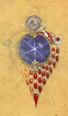 Preliminary design for a ninety-carat star sapphire & 39 Burmese rubies by Warwick Goble for the World's Columbian Exposition (Tiffany & Co., 1893)