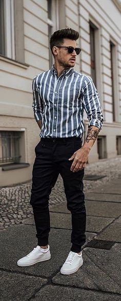 - with a summer outfit idea with a blue white striped button up shirt with rolled up sleeves sunglasses black denim white sneakers Summer Outfits Men, Stylish Mens Outfits, Casual Outfits, Men Casual, Spring Outfits, Men's Summer Clothes, Men Summer Fashion, Mens Spring Fashion Outfits, Mens Fashion Wear