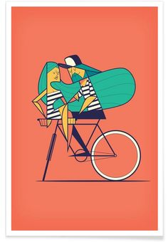 Bicyclove als Premium Poster von Ale Giorgini   JUNIQE