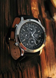 vintage stainless steel citizen chronograph with the popular black face by IronCrowVintage SOLD!
