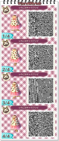 Kawaii Animal Crossing Strawberry Dress QR Code.