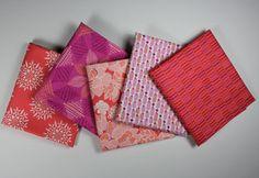 CANYON - by Kate Spain for Moda Fabrics - Fat Quarter Bundle - 5 Prints - Raspberry - Coral