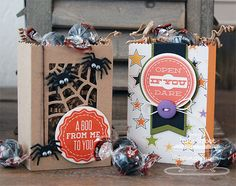 Trick or Sweet; Layered Treat Tag Die-namics; Paper Bag Treat Box Die-namics; Paper Bag Peek-a-Boos Die-namics - Inge Groot