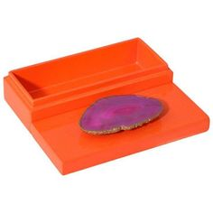 Small Orange Lacquer Box With Pink Agate (170 SAR) ❤ liked on Polyvore featuring home, home decor, small item storage, boxes, lacquer box, agate box, pink home decor, orange home accessories and pink flamingo home decor
