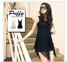 Irregulärer Schoß Lace Kleid schwarz
