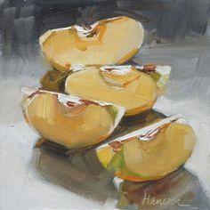 """Apple Slices Backlit"" - Original Fine Art for Sale - © Gretchen Hancock Apple Art, Red Apple, Apple Illustration, Watercolor Paintings, Watercolors, Oil Paintings, Still Life Fruit, Food Painting, Painting Still Life"