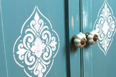 DIY stenciled cabinets! Love this!