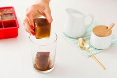 If you like iced coffee, stop watering it down with regular ice cubes. Make coffee cubes beforehand to use with a fresh cup of coffee. Cocktail Drinks, Fun Drinks, Yummy Drinks, Cocktails, Coffee Ice Cubes, Mexican Dishes, Non Alcoholic, Cold Brew, Diy Food