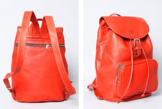 Montague leather backpack in orange.  Handcrafted in Brooklyn.  http://www.brooklynindustries.com/made-in-brooklyn-bags/montague-leather-backpack