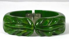 Green Marbled Bakelite Clamper Bracelet - available in our shop The Vintage Jewelry Boutique on Ruby Lane.