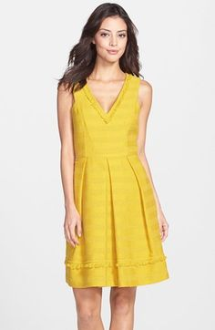Trina Turk 'Shendi' Jacquard Fit & Flare Dress available at Fit N Flare Dress, Fit And Flare, Maxi Shirt Dress, Dress Up, Vacation Dresses, Summer Dresses, Yellow Fashion, Trina Turk, Fashion Plates