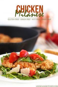 Chicken Milanese {with Crispy Fried Chicken} Gluten-free, dairy-free, paleo Paleo Chicken Recipes, Paleo Recipes, Whole Food Recipes, Cooking Recipes, Meat Recipes, Delicious Recipes, Free Recipes, Crispy Fried Chicken, Breaded Chicken