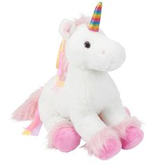 Wonderfully whimsical and fantastically fluffy, the Toys'R'Us Plush Rainbow Unicorn is sure to color your world with loads of fanciful fun! This galloping goddess is covered with white fur that's oh-so-soft; she even has a fuzzy pink mane and tail that are embellished with bright ribbons for a splash of sass. Best of all, her shimmer-ific rainbow horn coordinates perfectly with the shooting star on her rear. <br><br> The Toys R Us Plush 18 inch Rainbow Unicorn - White…