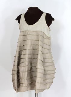 cocoona moderna: sculpted linen and wool dress, by Secret Lentil