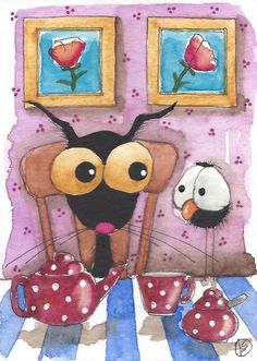 ACEO Original watercolor painting whimsical bird crow black cat teapot flower #IllustrationArt