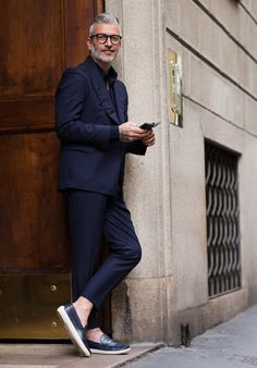 Navy Poplin Suit, and Penny Loafer Sneakers, Men's Spring Summer Fashion.