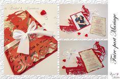 Lasercut wedding invitation - Faire-part Mariage -Modèle arabesque - Bella en rouge et blanc irisé - Faire-part ciselé, découpe façon laser Lasercut, Arabesque, Creations, Invitation, Gift Wrapping, Gifts, Laser Cutting, Personalised Gifts, Gift Wrapping Paper