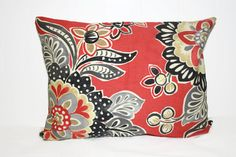 Pillow, Throw Pillow Cover, Decorative Pillow Cover Coral, Black, Tan, and Gray Floral