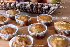 Vegan muffins με μήλο μέλι και καρύδια Μέλι, μήλο, πορτοκάλι, καρύδια και σταφίδες είναι τα βασικά συστατικά γι αυτά τα νοστιμότατα κεκάκια, που είναι έτοιμα σε λιγότερο από 20 λεπτά. Ζουμερά και …