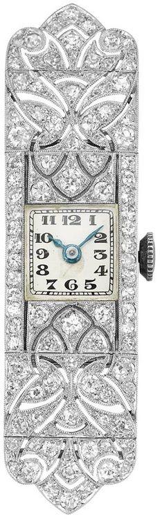 Edwardian Platinum and Diamond Watch  Movement signed Pochelon Freres, Geneve, case no. 15355, c. 1915. With signed box. Via Doyle New York.