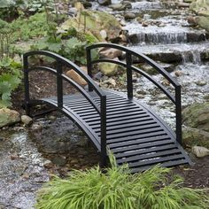 Modern 8-Ft Metal Garden Bridge with Arched Rails in Black Powder Coated Steel