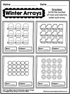 Winter No Prep Math - Grade by Beth Kelly Array Worksheets, Free Printable Math Worksheets, 2nd Grade Worksheets, Printables, 2nd Grade Classroom, Math Classroom, Math Resources, Math Activities, Math Multiplication