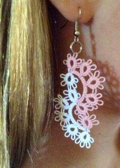 Waterfall earrings, tatted earrings, chandelier earrings, lace flower earrings, tatted earrings with hooks, dangle earrings, pink and white