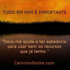 Tudo em mim é importante.  Deus me ajude a ter sabedoria para usar  bem os recursos que já tenho.  Blog Caminho Nobre - http://caminhonobre.com.br/  #Deus #ajuda #compaixao #sabedoria #sabedoriadivina #espirita