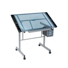 Glass Drawing Drafting Table Large Art Desk Adjustable Architect Artist  Wheels