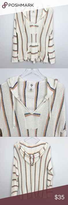 e0a35fb46f Billabong | Bonfire Beach Baja Sweater Hoodie Boho Knit pullover hooded  sweater. Front pouch pocket
