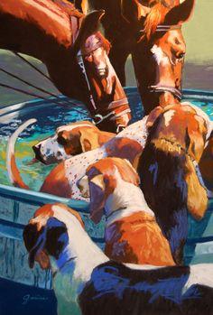 Large Print- After the Hunt, dog, hound, horse