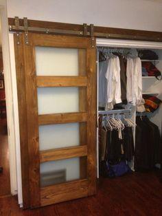Indoor Barn Doors, Glass Barn Doors, Barn Door Closet, Diy Barn Door, Bypass Barn Door Hardware, Window Hardware, Barn Doors For Sale, Home Design Diy, Regal Design