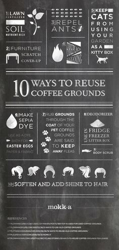 10 ways to reuse coffee grounds Coffee can be used in so many ways. good to know Recycling Facts, Reduce Reuse Recycle, Repurpose, Uses For Coffee Grounds, Argumentative Essay, Food Waste, Coffee Cans, Drink Coffee, Good To Know