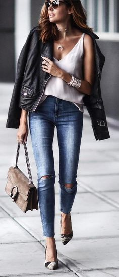 cute outfit idea : black jacket + white top + bag + rips + heels