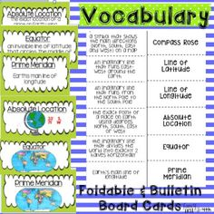 Teaching latitude and longitude - vocabulary foldable and bulletin board resources Geography Games For Kids, Geography Lessons, Human Geography, 3rd Grade Social Studies, Social Studies Lesson Plans, Educational Activities, Classroom Activities, Classroom Decor, Word Map